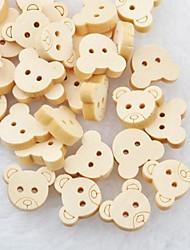 Bear Head album scraft coudre des boutons en bois de bricolage (10 pièces)