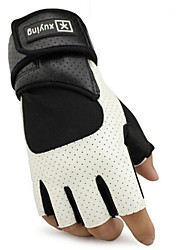 Outdoor Skull Style  Breathable Cycling PU Leather  Half Finger Gloves 1-Pair