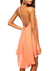 Women's Summer Strap Sexy Backless Solid Color Asymmetrical Swing Midi Dress