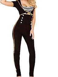 Women's Black Navy Uniform Cosplay Costume With White Cap