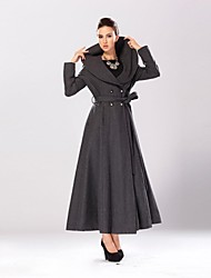 Women's Lapel Grey Double-Breasted Slim Maxi Tweed Coat