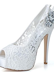 Women's Spring / Summer / Fall Heels / Peep Toe / Platform Lace Wedding / Party & Evening Stiletto Heel RhinestoneBlack / Pink / Ivory /