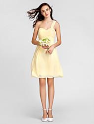 Lanting Knee-length Chiffon Bridesmaid Dress - Daffodil Plus Sizes / Petite Sheath/Column One Shoulder