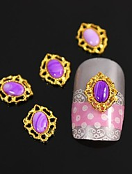 10pcs Purple Oval Stone With Golden Hollow Line Alloy Nail Art Decoration