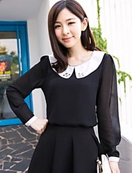 ICED™ Women's Fashion Doll Collar Beads Long Sleeve Blouse (More Colors)