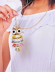 Women's National Wind color owl Long Sweater Chain