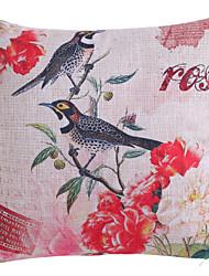 oiseau vif et motif de fleur taie d'oreiller en polyester