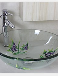 Sea World Tempered Glass Vessel Sink With Faucet Set