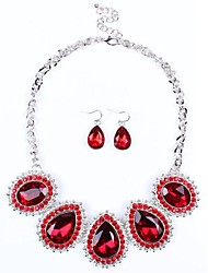 moda de luxo gotículas de água das mulheres strass conjunto de jóias (incluindo colares brincos)
