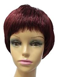 grau superior sem tampa sintético vermelho staight peruca completa franja curta