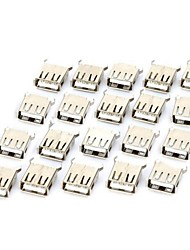 USB-A Female 180 Degree DIP Type Connector Socket (DC 30V / 20-Piece Pack)
