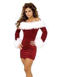 sexy bateau rojo delgado vestido de las mujeres de la moda de rendimiento navidad