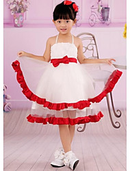 White Red Round Neck Short Sleeves First Communion Dress Bowknot