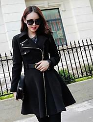 Women's Fashion Slim Long Sleeved Woolen Coat(with Belt)