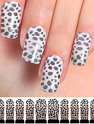 12PCS Black&White Leopard Watermark Nail Art Stickers C4-013
