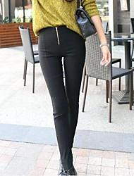 elástico da cintura zíper magro calça longa das mulheres