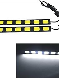 Carking Waterproof Aluminum 6-COB LED 9.6W White DRL Driving Daytime Running Light Lamp(2PCS)