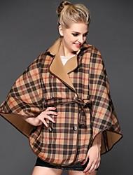 женские отложным воротником плед 3-м квартале рукав кружева плащ пальто