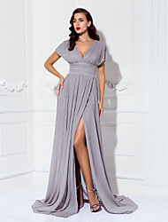 Formal Evening/Military Ball Dress - Silver Plus Sizes Sheath/Column V-neck Sweep/Brush Train Chiffon