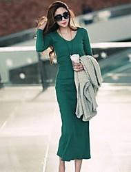 v collo elegante abito lungo manica lunga donna (più colori)