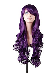 Women's New Long Curly Dark Purple Cosplay Anime Hair Wigs