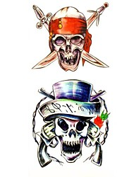1pc Pirate Skull Waterproof Tattoo Sample Mold Temporary Tattoos Sticker for Body Art(18.5cm*8.5cm)