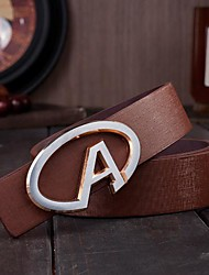 Men's Round A Fashion Smooth Buckle  Leather Belt
