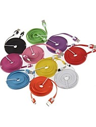 3M V8 Micro USB Noodle Data Cable for Samsung Galaxy S5/S4/S3/S2 and HTC/Nokia/Sony/LG (Assorted Colors)