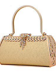 Women Metal Wedding Evening Bag Gold / Fuchsia
