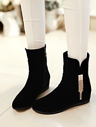 Women's Shoes Round Toe Wedge Heel Ankle Boots with Zipper