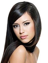 Capless Extra Long Straight Black Synthetic Wig Side Bang