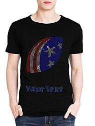 Personalized Rhinestone T-shirts US Football Pattern Men's Cotton Short Sleeves