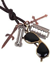 Ожерелье Ожерелья с подвесками Бижутерия Повседневные Крестообразной формы Сплав Кожа Подарок Коричневый