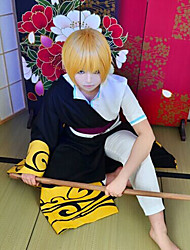 Inspired by Gintama Gintoki Sakata Anime Cosplay Costumes Cosplay Suits Black / Golden Cloak / Top / Pants / Waist Accessory