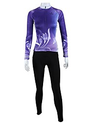PaladinSport Women's Spring and Summer and Autumn Style 100% Polyester Viola Long Sleeved Cycling Suits