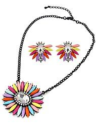 resina de flores de moda traje collares pendientes (color al azar)