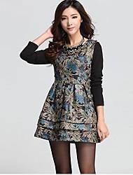 мода круглым воротом с длинным рукавом платье мини Iced Продукция ТМ женщин (больше цветов)