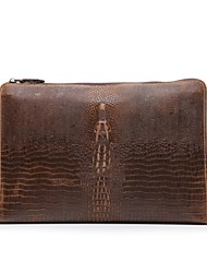 Mens Casual Leather Clutch Purse with Shoulder Strap