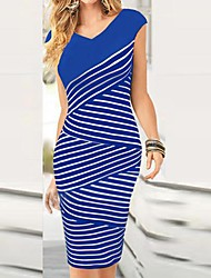 Women's Short Sleeve Sexy Bodycon Stripe Slim Dresses