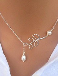 European Style Fashion Short Simple Leaves Pearl Necklace