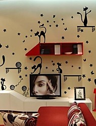 Lovely PVC Black Cat & Butterfly Wall Stickers