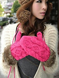 Women's Halter Thick Knit  Wool Gloves