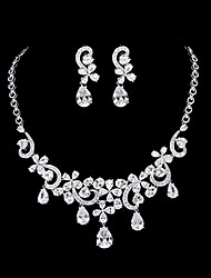 Jewelry Set Women's Anniversary / Wedding / Engagement / Special Occasion Jewelry Sets Platinum Cubic Zirconia Necklaces / Earrings Silver