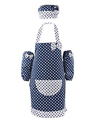 Blue Bottom White Dot Pattern Cotton Fabric Apron,Set of 3 With  Back Llining