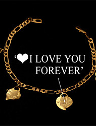 Cute Stamp I LOVE YOU FOREVER Hearts Charm Bracelet Chain 18K Gold Platinum Plated Jewelry Gift for Women