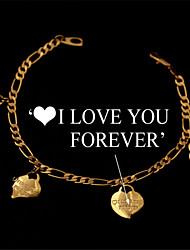 timbre mignon je t'aime pour toujours coeurs de chaîne bracelet en or 18 carats plaqué platine cadeau de bijoux pour les femmes