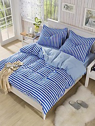 Manmer® Duvet Cover Set,4-Piece Striped AB Version Dear Skin Tencel Dye(200*230cm)