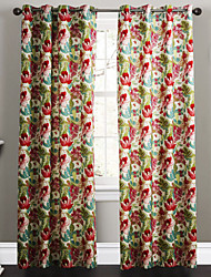 TWOPAGES® Two Panels  Contemporary Country Ink Painting Style Blossoms Floral Curtains Drapes