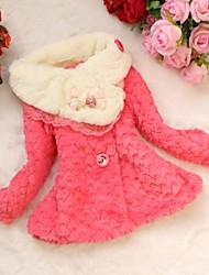 Girl's Solid Jacket & Coat,Faux Fur / Wool Blend Winter / Fall Pink / Red