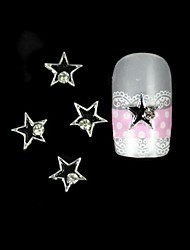 10pcs Black Star With Silver Line Alloy Nail Art Decoration